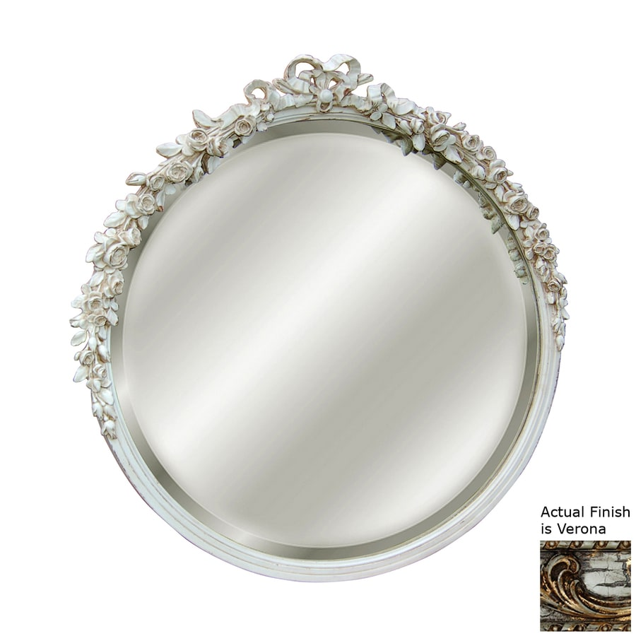 Hickory Manor House Rose 30-in x 31-in Verona Beveled Round Framed Wall Mirror