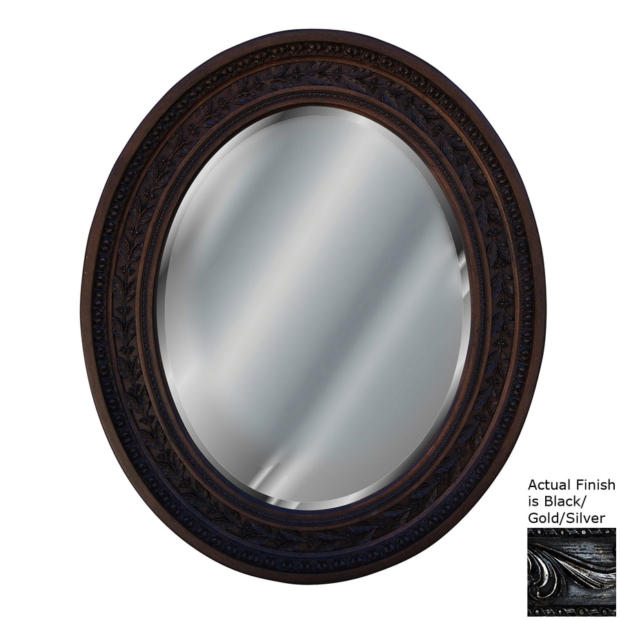 Hickory Manor House Antique Leaf Black/Gold/Silver Beveled Oval Wall Mirror