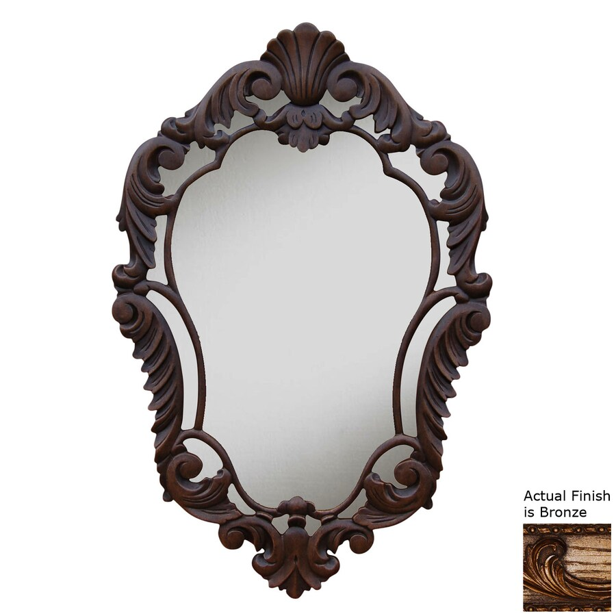Hickory Manor House Curved 22-in x 33.5-in Bronze Polished Diamond Framed French Wall Mirror