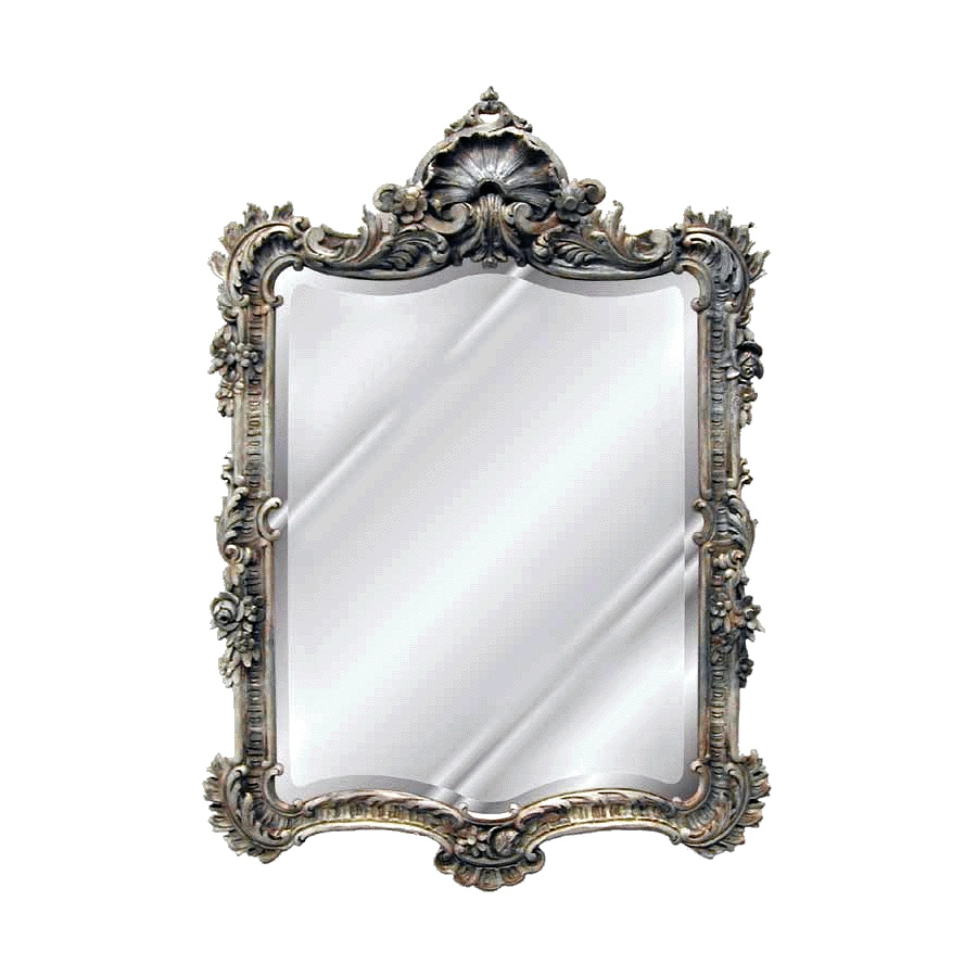 Hickory Manor House Arquette 29.5-in x 42-in Gilt Silver Beveled Rectangle Framed Wall Mirror