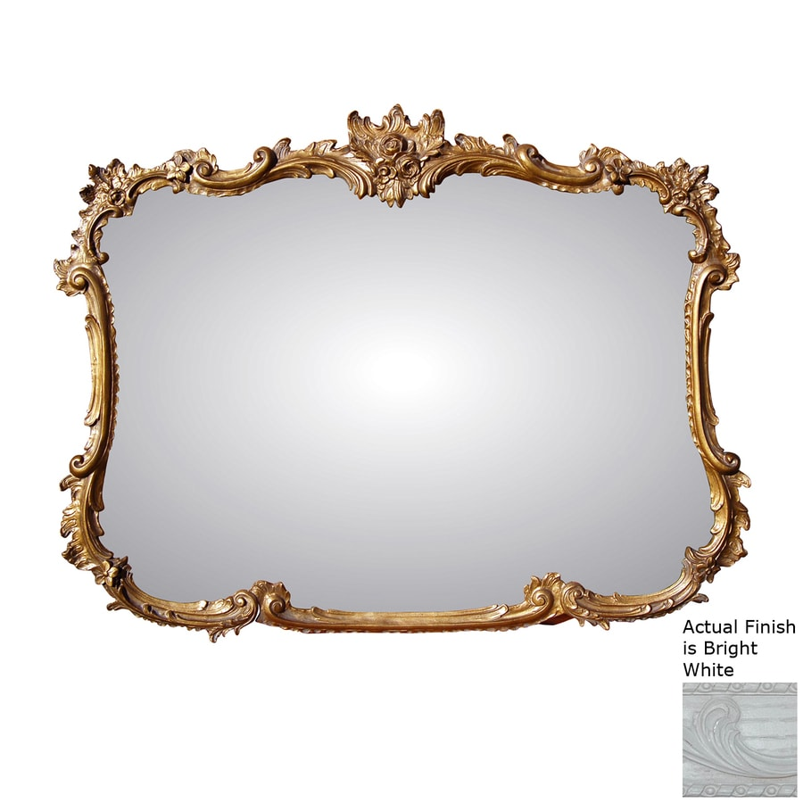 Hickory Manor House Buffet 44-in x 34-in Bright White Polished Rectangle Framed Wall Mirror
