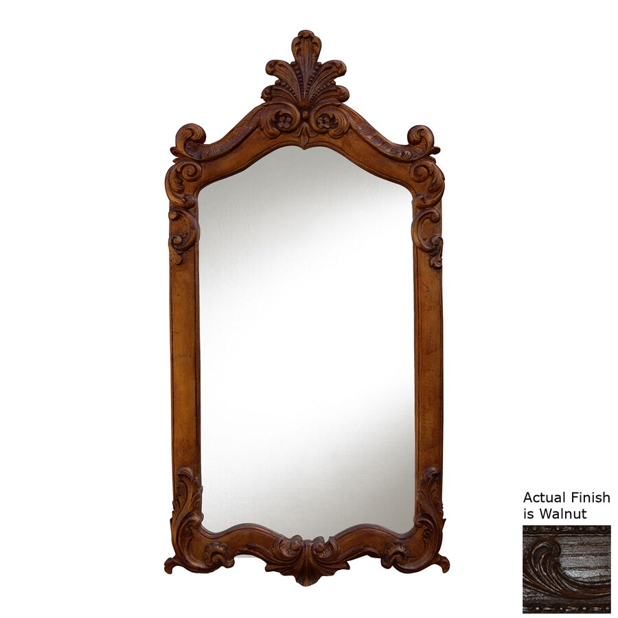 Hickory Manor House Royal 28-in x 52-in Walnut Polished Rectangle Framed Wall Mirror