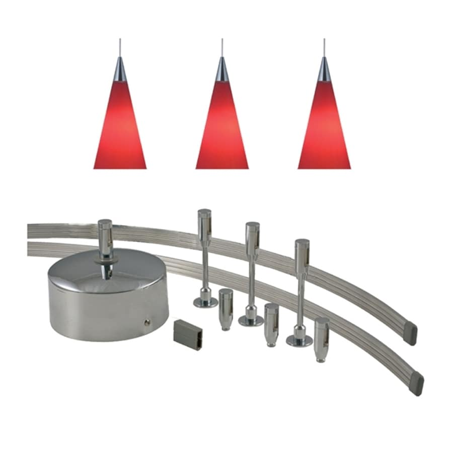 JESCO 3-Light 96-in Satin Nickel Flexible Track Light with Red Glass
