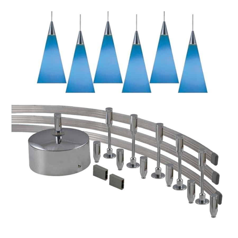 JESCO 6-Light 144-in Satin Nickel Flexible Track Light with Blue Glass