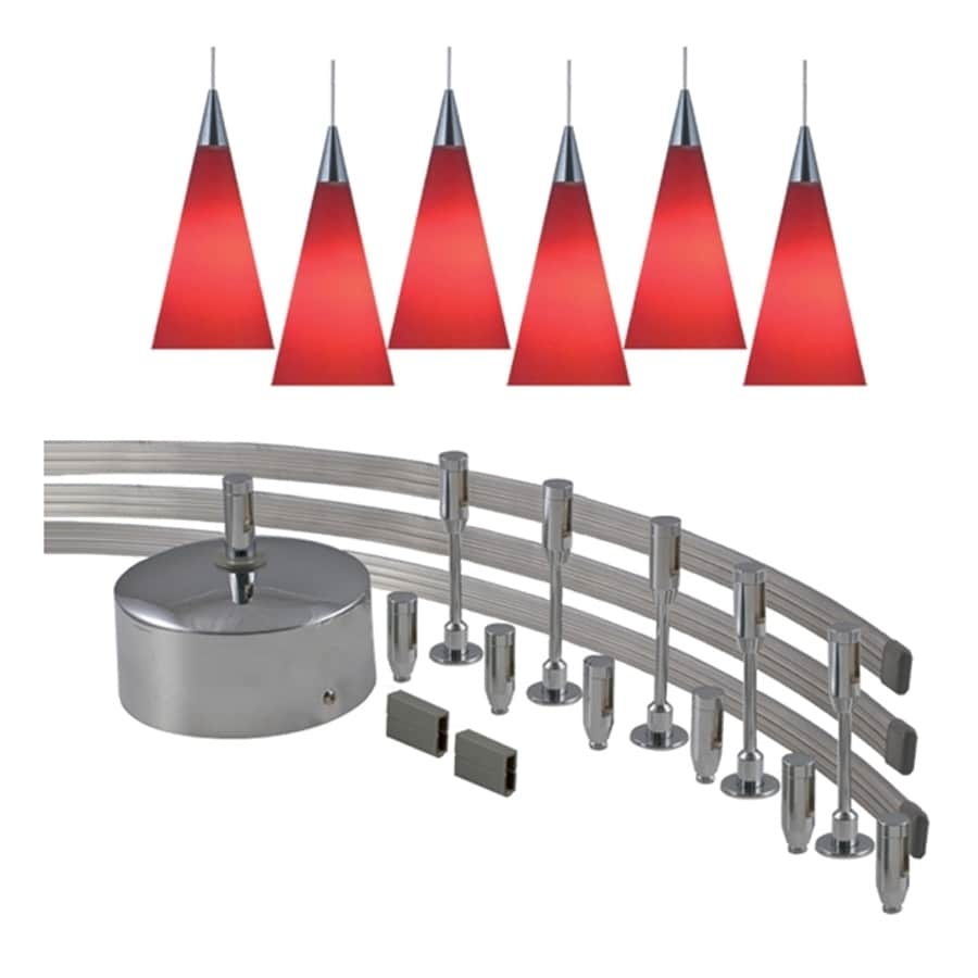 JESCO 6-Light 144-in Satin Nickel Dimmable Flexible Track Light with Red Glass