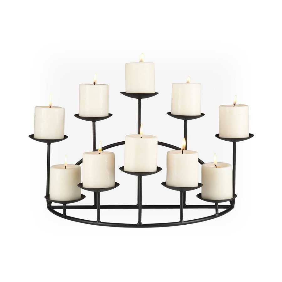 Boston Loft Furnishings 10 Candle Catherine Matte Black Metal Candelabra Candle Holder