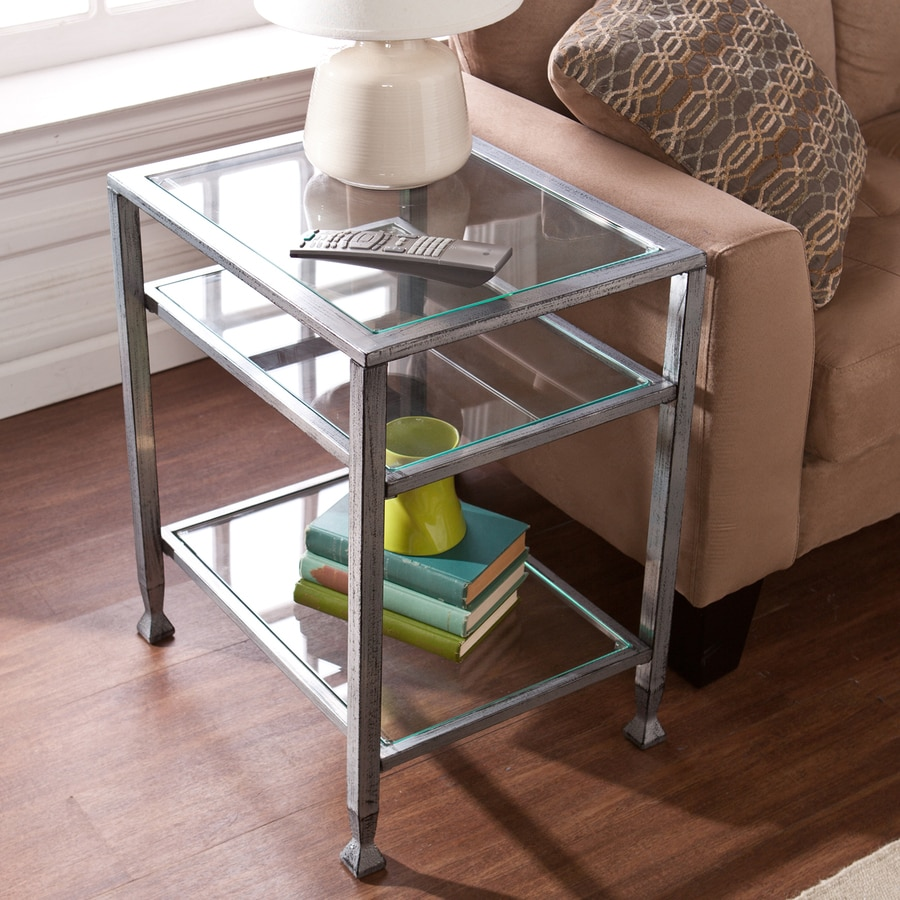 Boston Loft Furnishings Luna Distressed Silver Rectangular End Table