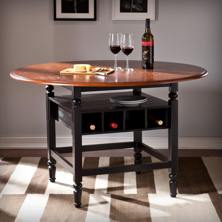 Boston Loft Furnishings Hopkins Rubbed Black/Brown Mahogany Round Dining Table