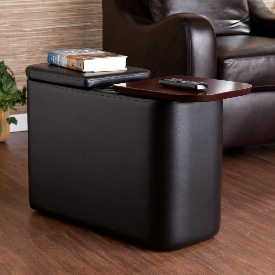 Boston Loft Furnishings Flaherty Black Upholstered (Composite) Rectangular End Table