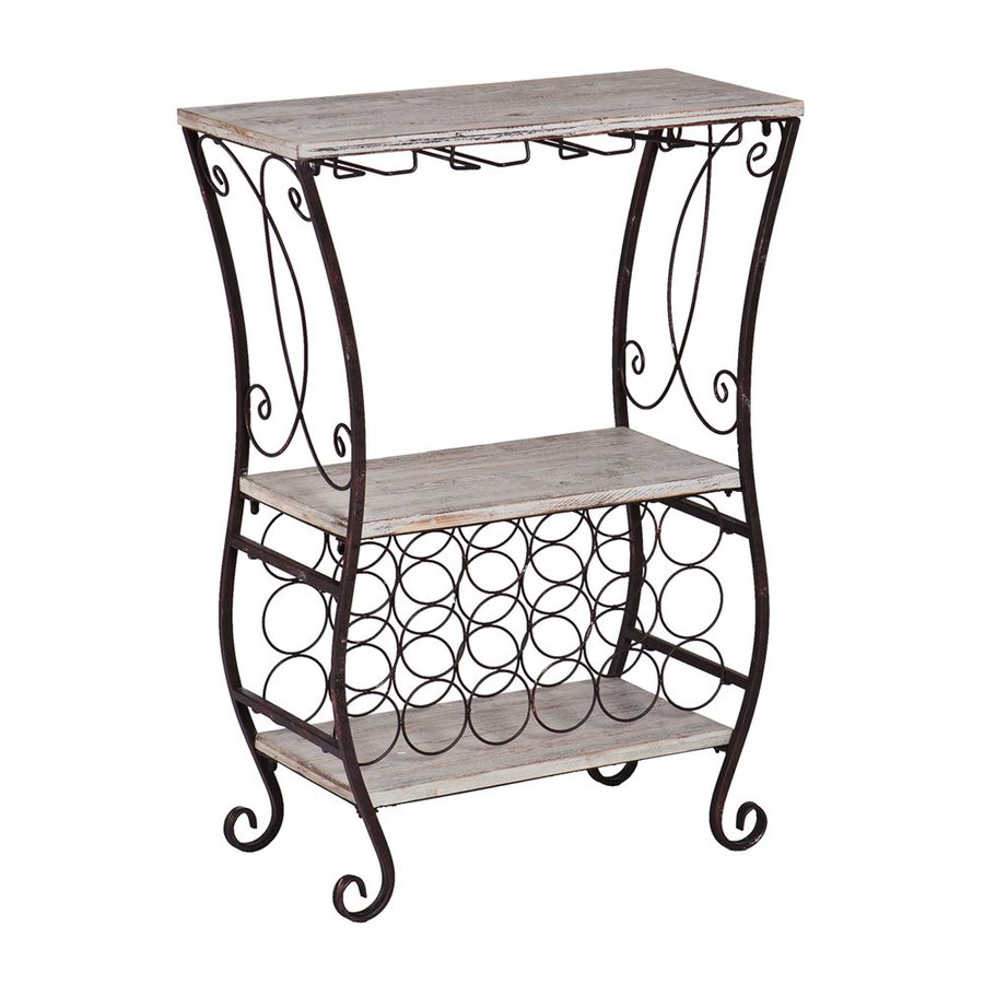 Boston Loft Furnishings Showcase 18-Bottle Gray Fir/Antique Rust Freestanding Floor Wine Rack