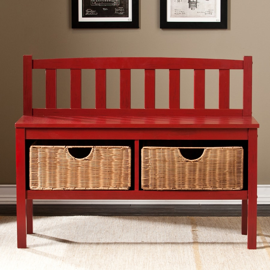 Shop Boston Loft Furnishings Abbedale Transitional Red Storage Bench At
