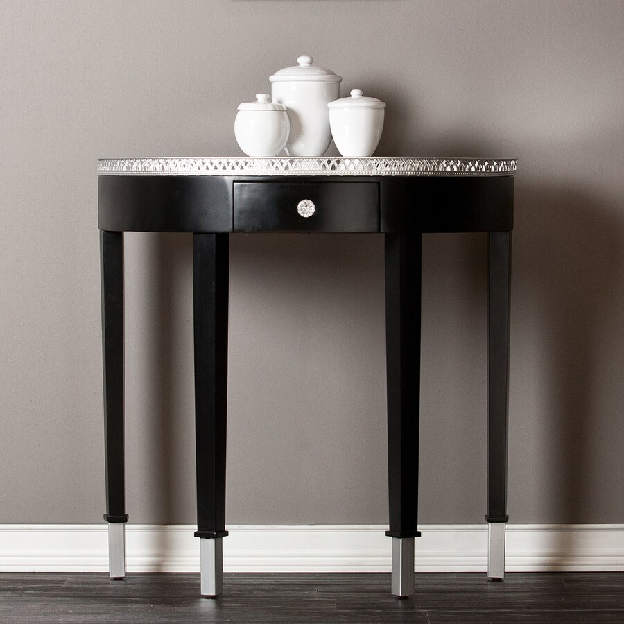Boston Loft Furnishings Kaylin Mirrored Black (Composite) Half-Round Console and Sofa Table