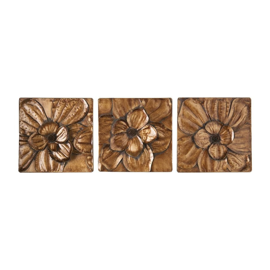 Boston Loft Furnishings 3-Piece 10-in W x 10-in H Frameless Metal Flora 3 Sculpture Wall Art