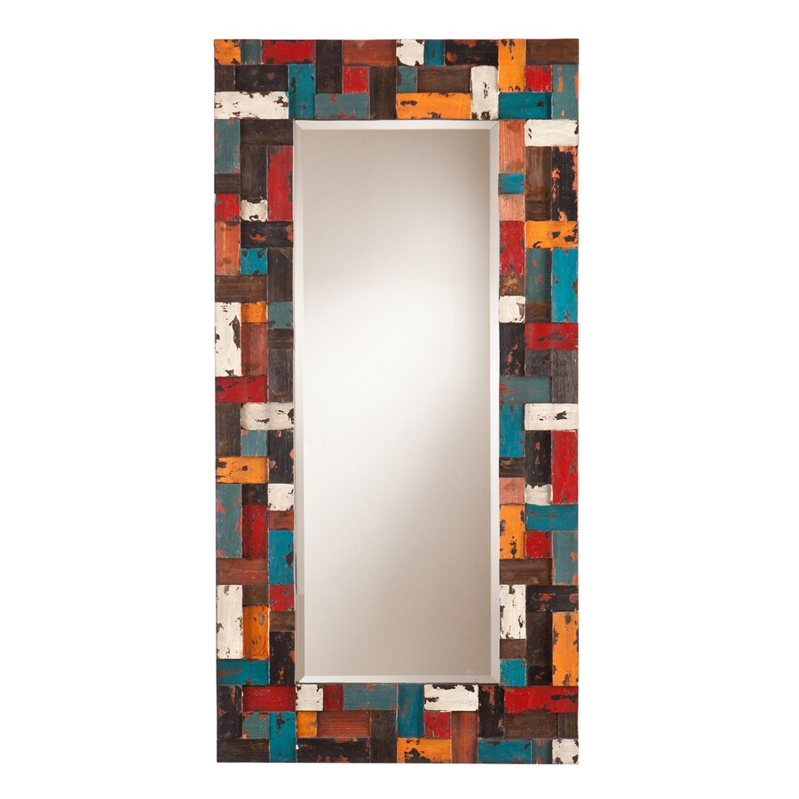 Boston Loft Furnishings Melancon 24.25-in x 48-in Multicolor Beveled Rectangle Framed Contemporary Wall Mirror