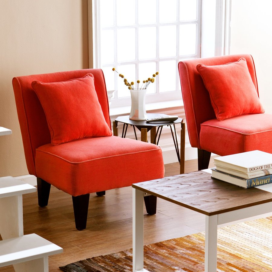 Holly & Martin Set of 2 Purban Red-Orange Linen Accent Chairs