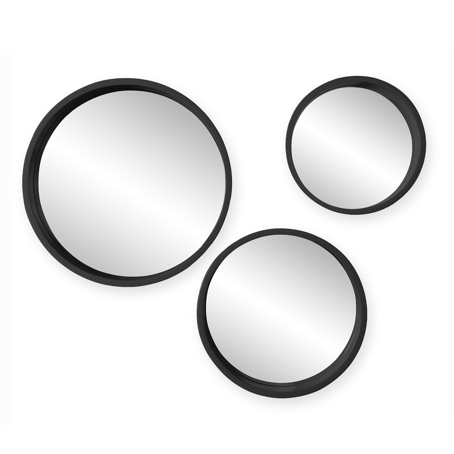 Holly & Martin Daws 15-in x 15-in Black Polished Round Framed Contemporary Wall Mirror