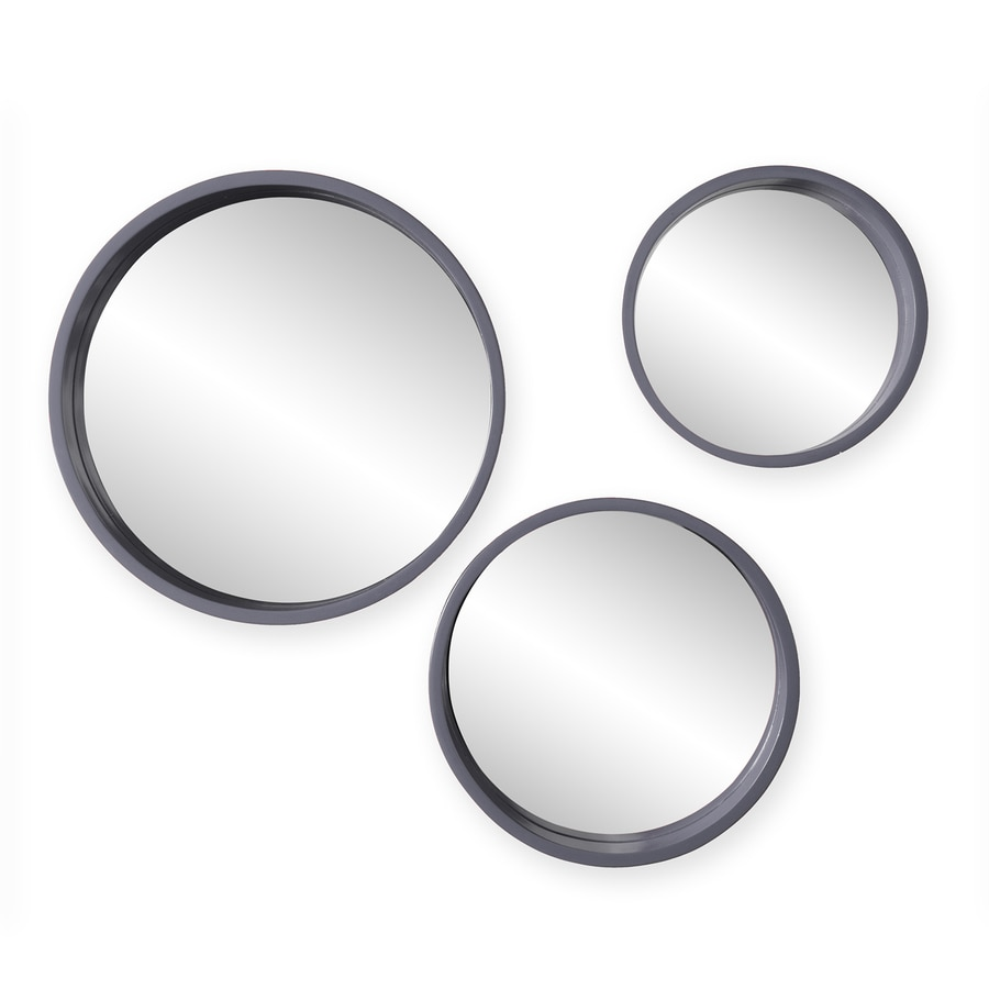 Holly & Martin Daws 15-in x 15-in Cool Gray Polished Round Framed Contemporary Wall Mirror