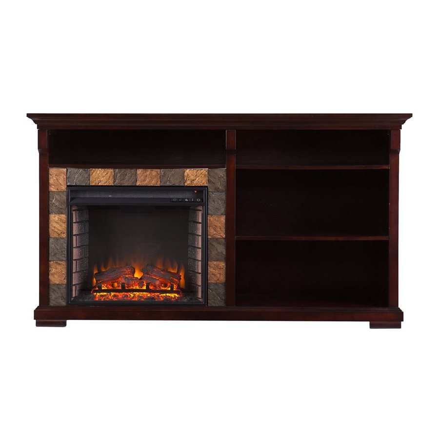 Boston Loft Furnishings 62-in W 5000-BTU Espresso Wood and Wood Veneer Led Electric Fireplace with Thermostat and Remote Control