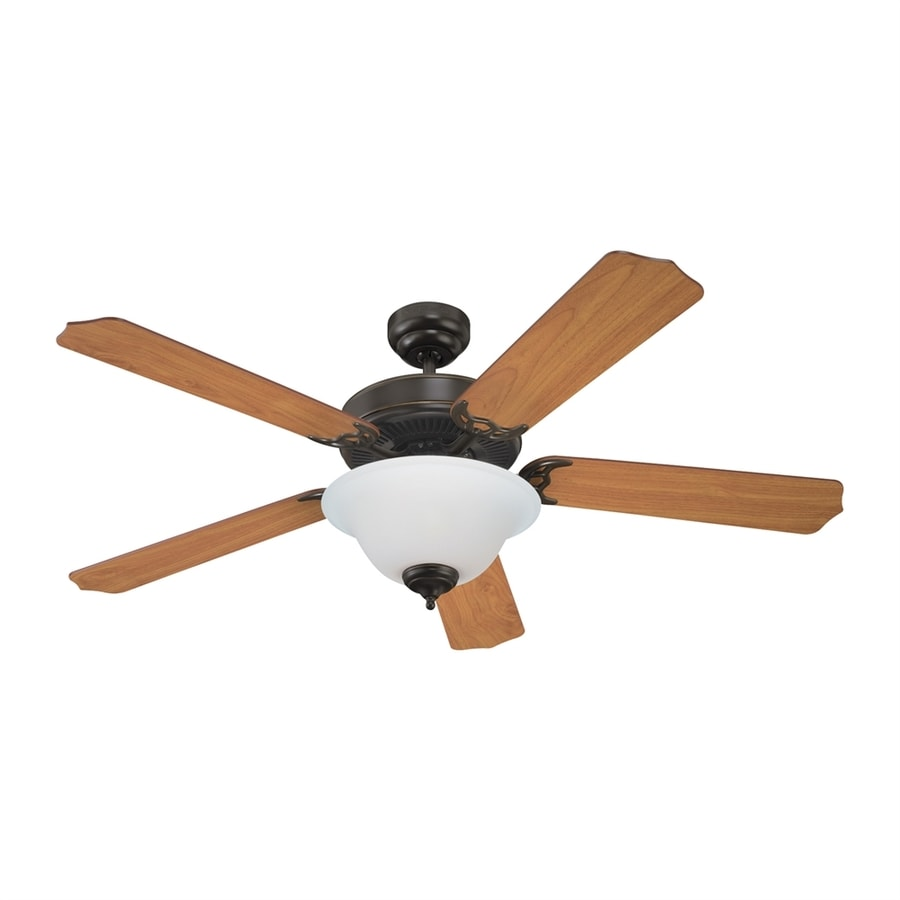 Sea Gull Lighting Quality Max Plus 52-in Heirloom Bronze Downrod or Close Mount Indoor Residential Ceiling Fan with Light Kit (5-Blade) ENERGY STAR
