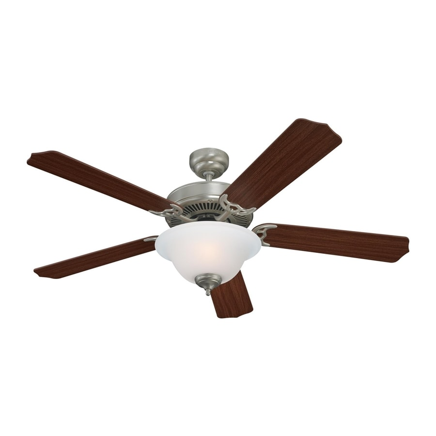 Sea Gull Lighting Quality Max Plus 52-in Brushed Nickel Downrod or Close Mount Indoor Residential Ceiling Fan with Light Kit (5-Blade) ENERGY STAR