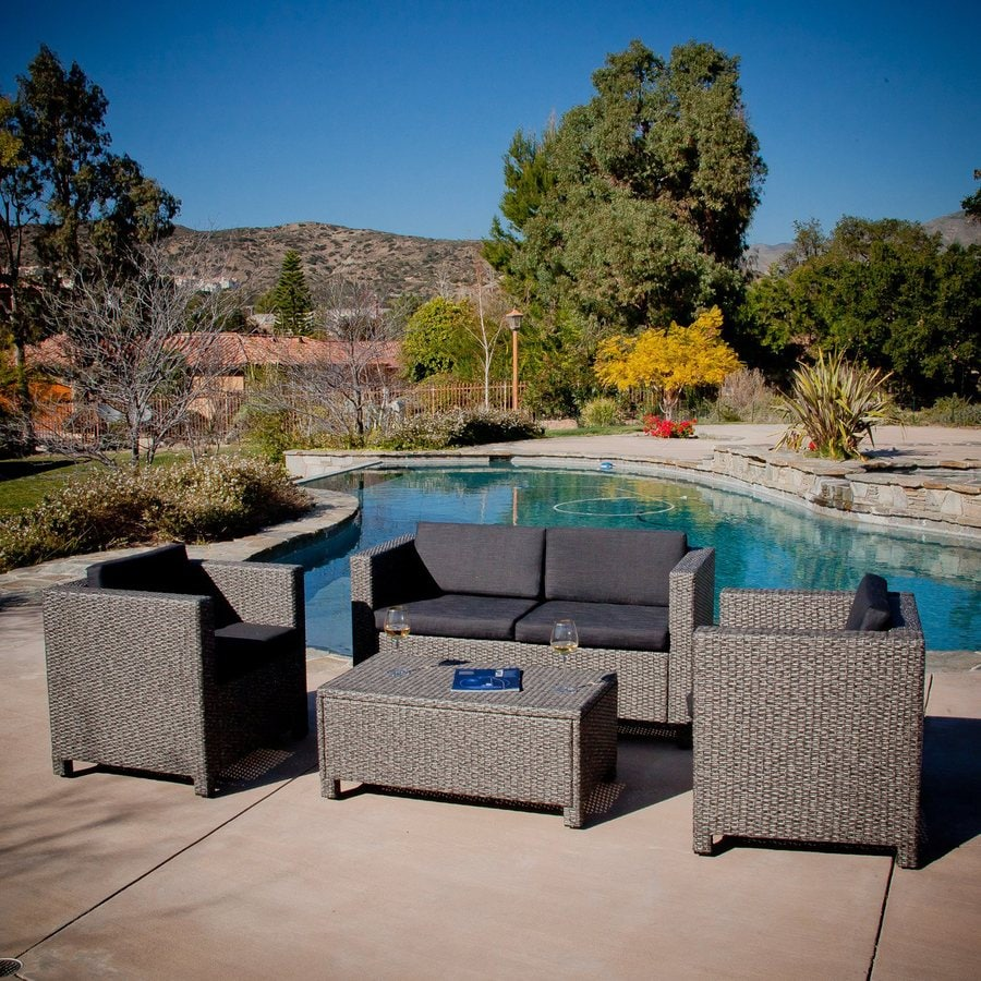 Best Selling Home Decor Puerta 4 Piece Wicker Frame Patio Conversation Set  With Black Cushions