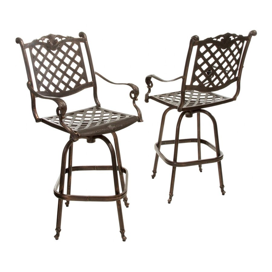 Best Selling Home Decor Avon 2-Count Shiny Copper Aluminum Patio Barstool Chairs