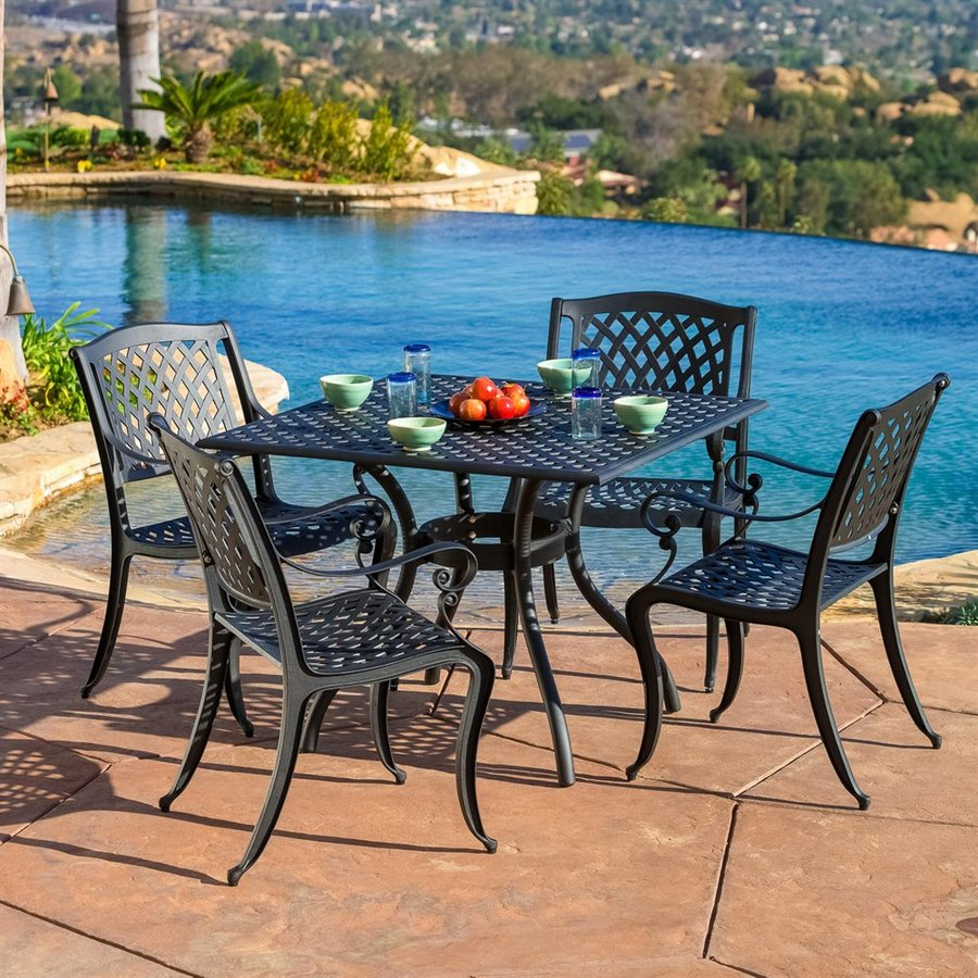 Cast Iron Outdoor Dining Set Part - 45: Best Selling Home Decor Hallandale 5-Piece Black Sand Aluminum Patio Dining  Set