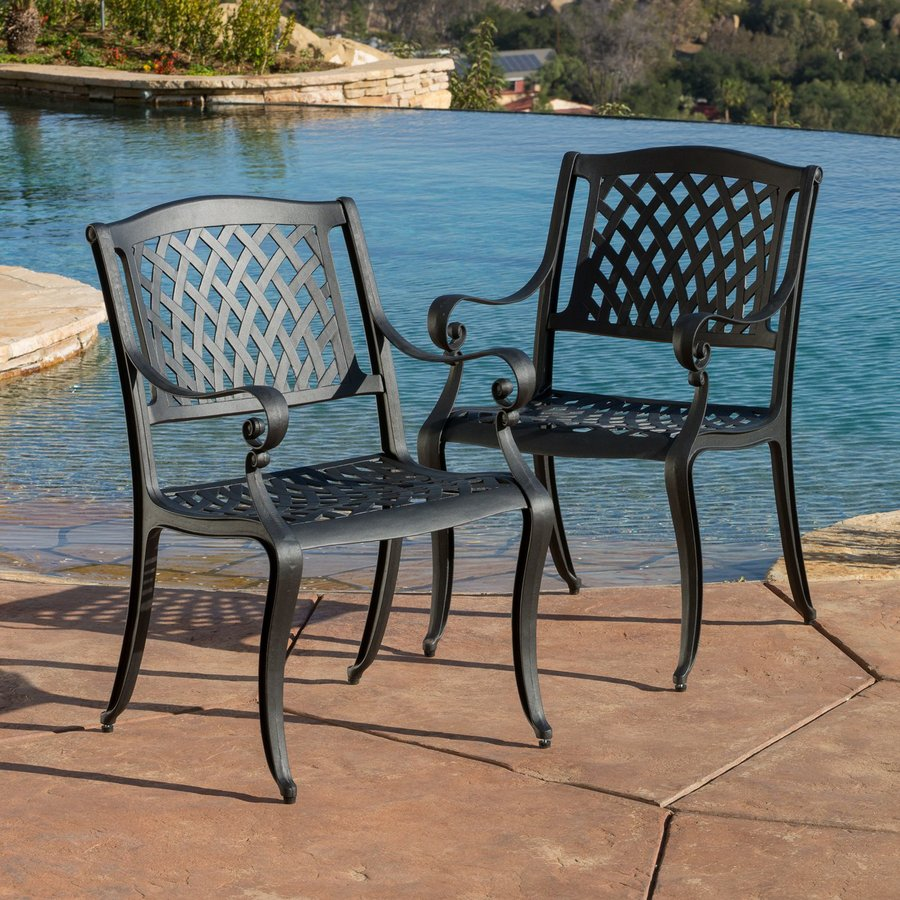 Best Selling Home Decor Hallandale 2-Count Black Sand Aluminum Patio Dining Chairs