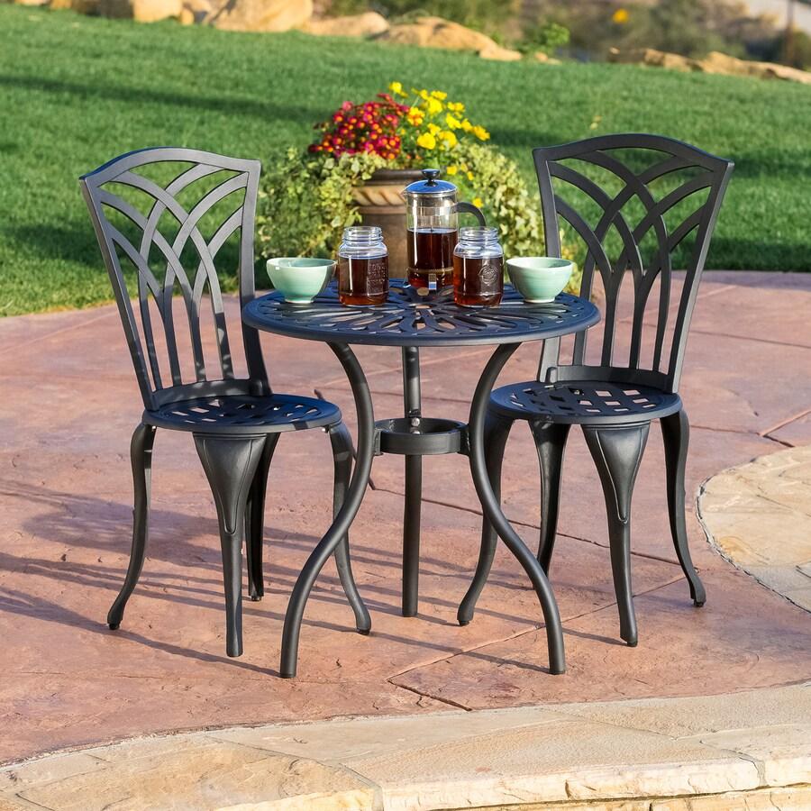 Best Selling Home Decor Sanders 3-Piece Black Sand Aluminum Bistro Patio Dining Set