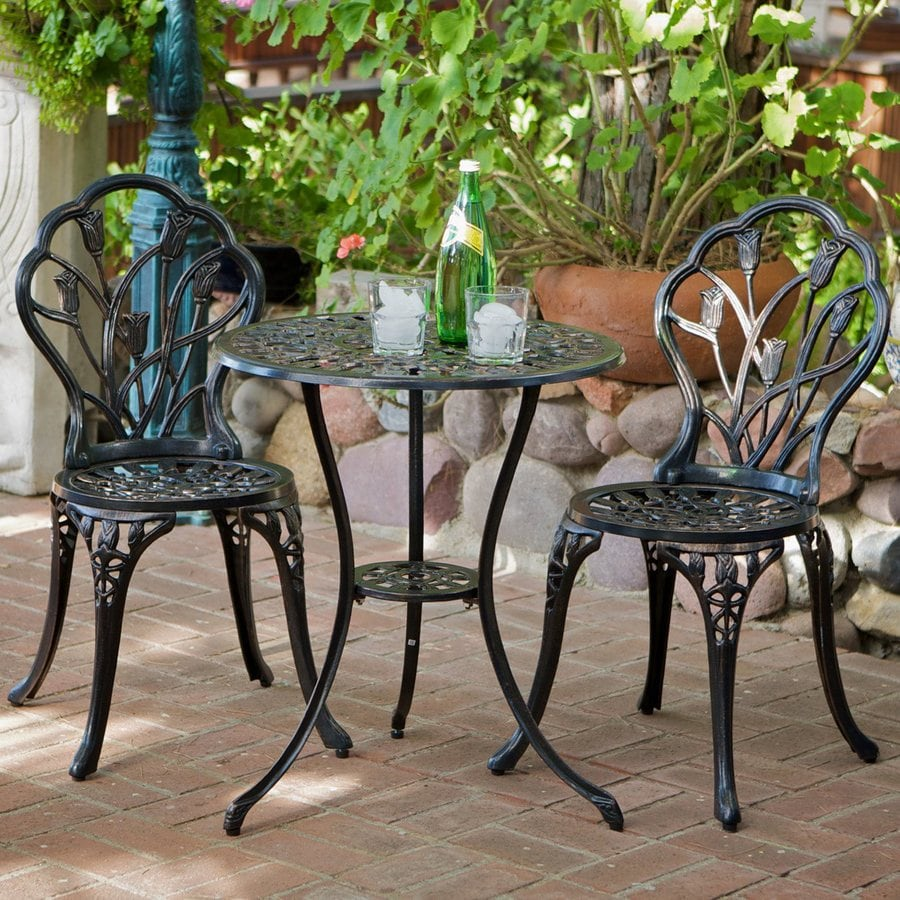 Shop best selling home decor nassau 3 piece dark aluminum for Small metal patio set