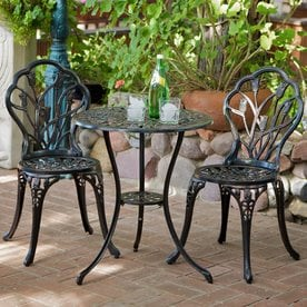 Best Selling Home Decor Nassau 3 Piece Metal Frame Bistro Patio Dining Set
