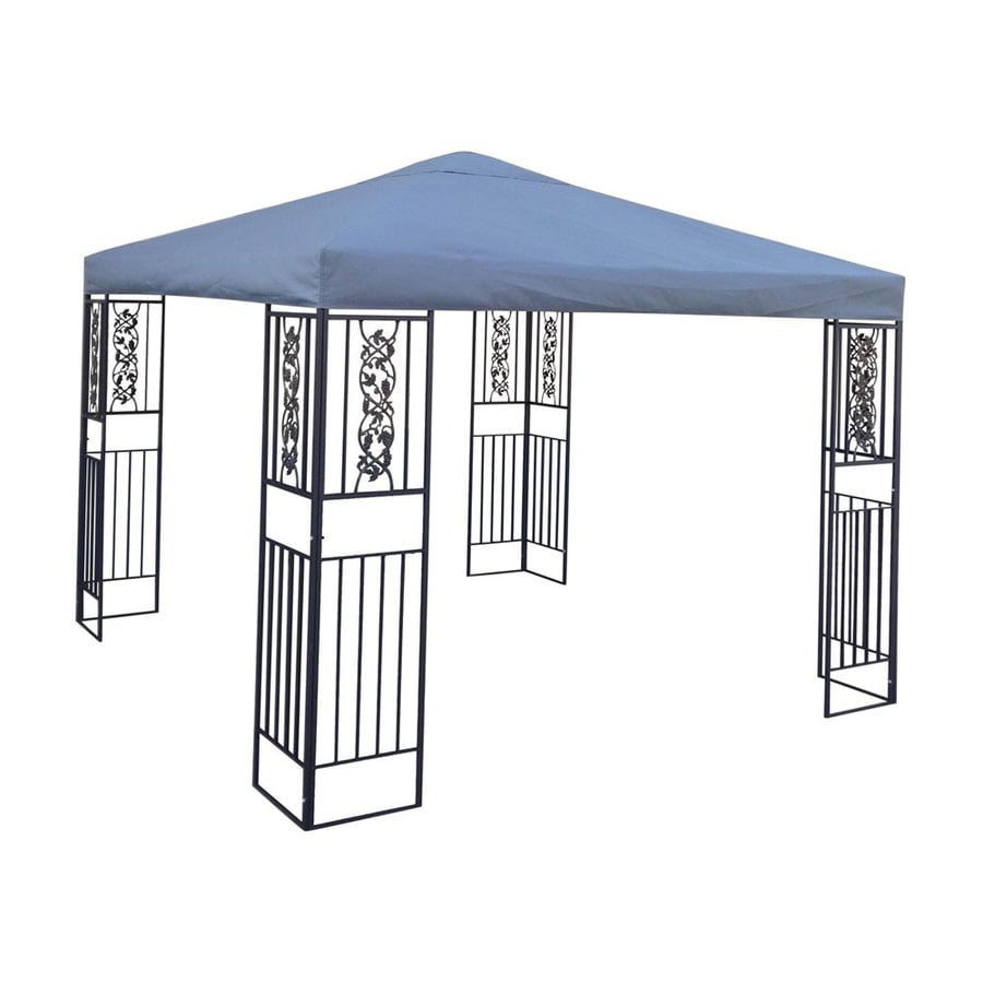 Best Selling Home Decor Blue Ridge Black/Grey Steel Rectangle Gazebo (Exterior: 9.91-ft x 9.83-ft; Foundation: 9.83-ft x 9.91 Feet)