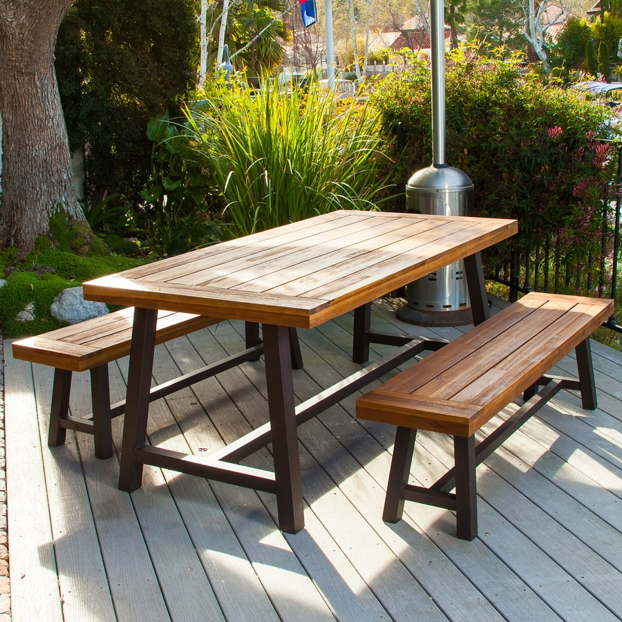 piece rustic iron sandblast wood acacia patio dining set at