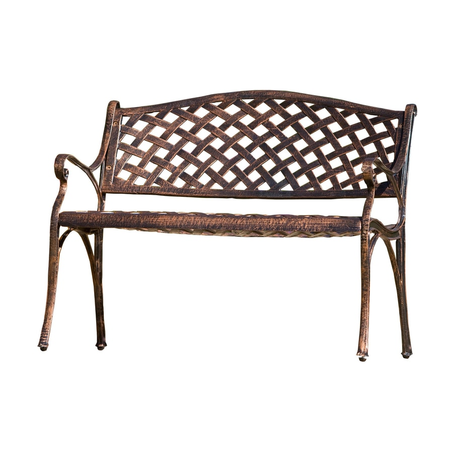 Shop best selling home decor cozumel 23 in w x 40 in l antique copper aluminum patio bench at Aluminum benches
