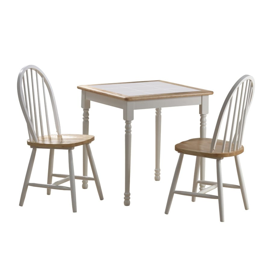 Boraam Industries White/Natural Dining Set with Square Dining Table