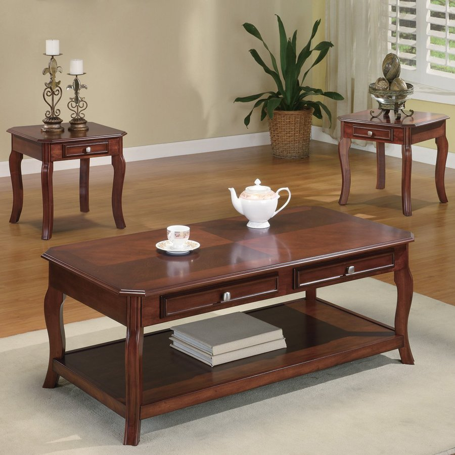shop coaster fine furniture 3 piece brown cherry accent table set at. Black Bedroom Furniture Sets. Home Design Ideas