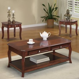 Coaster Fine Furniture 3-Piece Brown Cherry Accent Table Set & Shop Accent u0026 Coffee Tables at Lowes.com