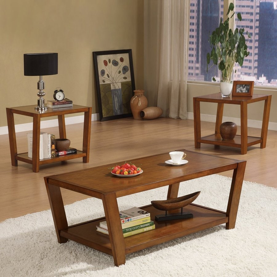 Coaster Fine Furniture 3-Piece Warm Brown Accent Table Set