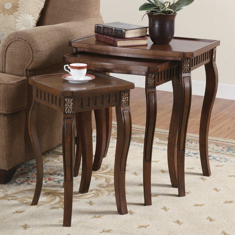 Coaster Fine Furniture 3-Piece Cherry Accent Table Set