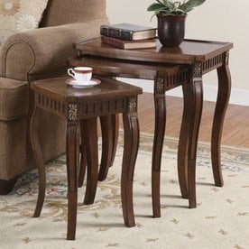 Coaster Fine Furniture 3-Piece Cherry Accent Table Set & Shop Accent Table Sets at Lowes.com