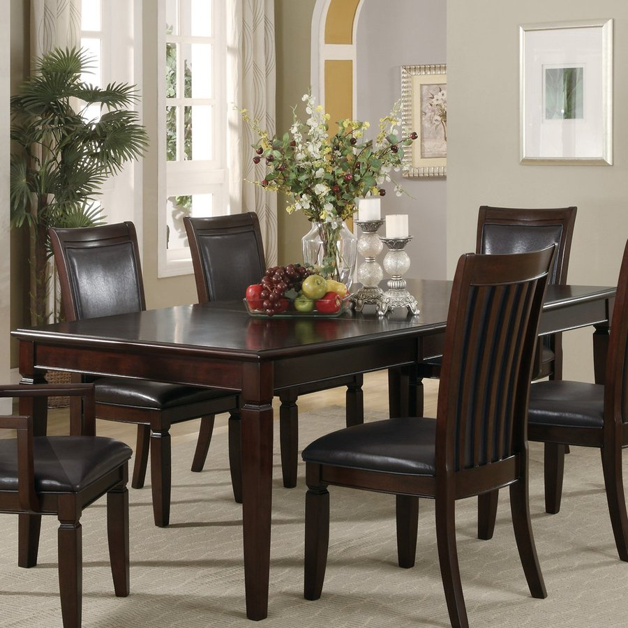 Shop coaster fine furniture ramona wood extending dining for Dining room tables lowes