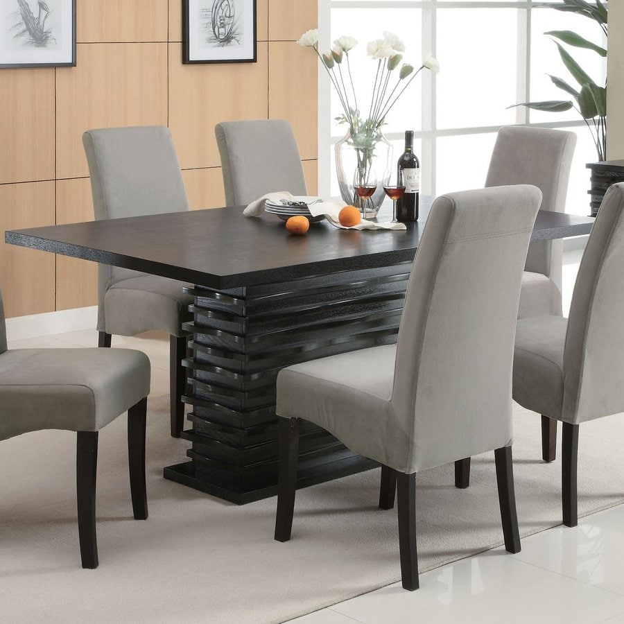 Shop coaster fine furniture stanton wood dining table at for Decor 7 piece lunch set