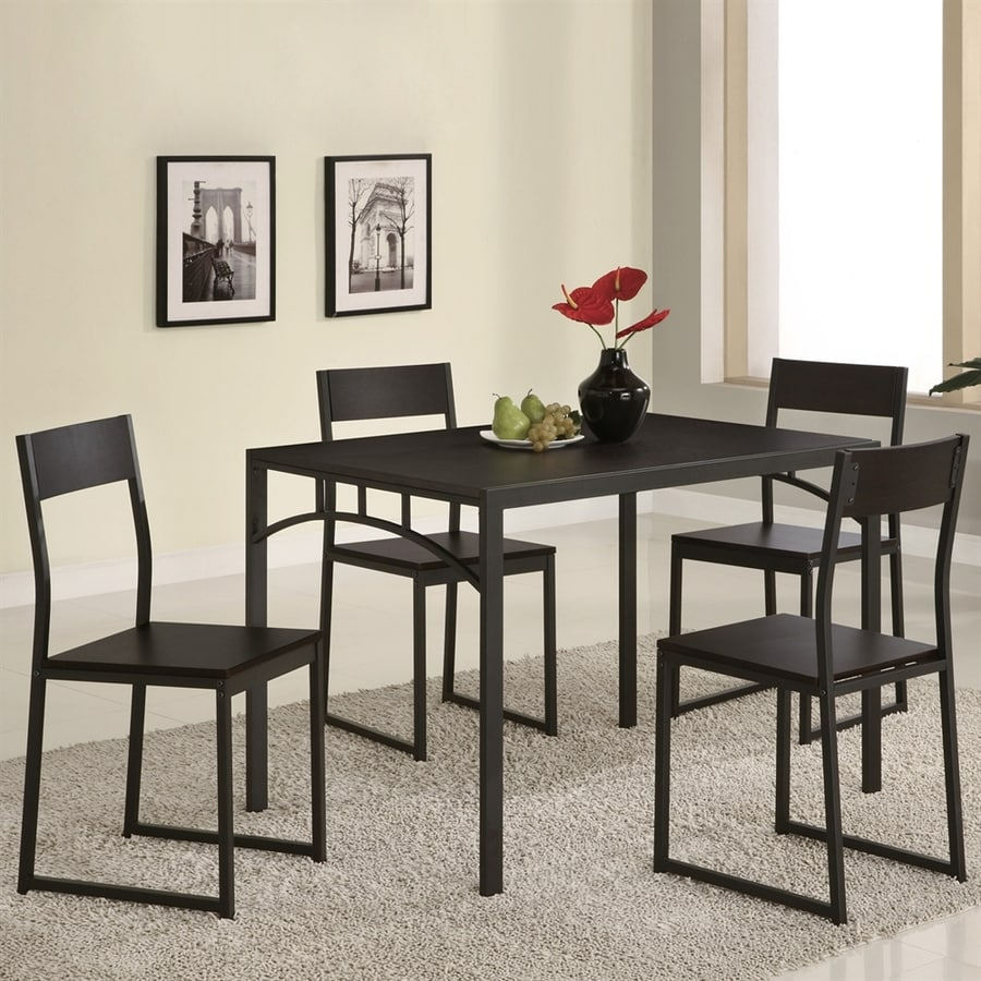 Dinet Set: Coaster Fine Furniture Cappuccino 5-Piece Dining Set With