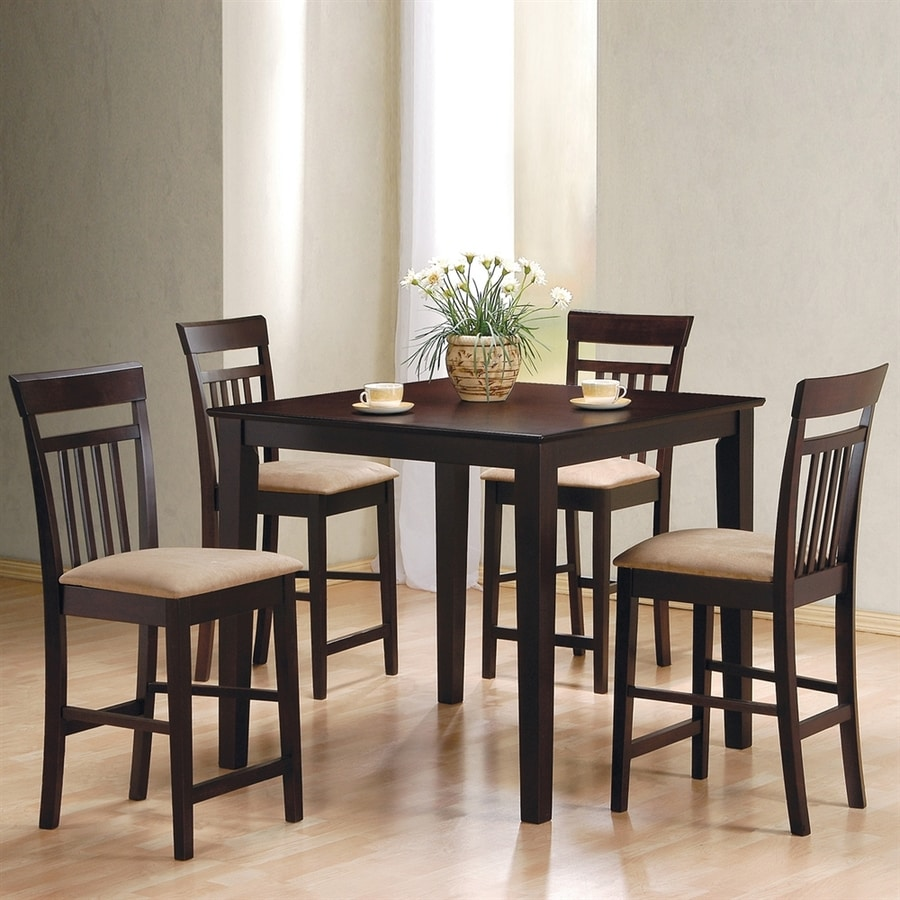 Coaster Fine Furniture Moreland Cappuccino 5-Piece Dining Set with Counter Height Table
