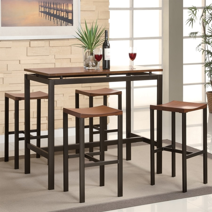 Coaster Fine Furniture Atlas Light Oak/Black Dining Set with Bar Table