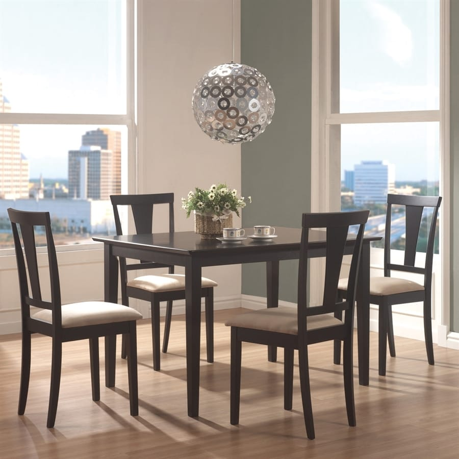 Coaster Fine Furniture Black 5-Piece Dining Set with Dining Table