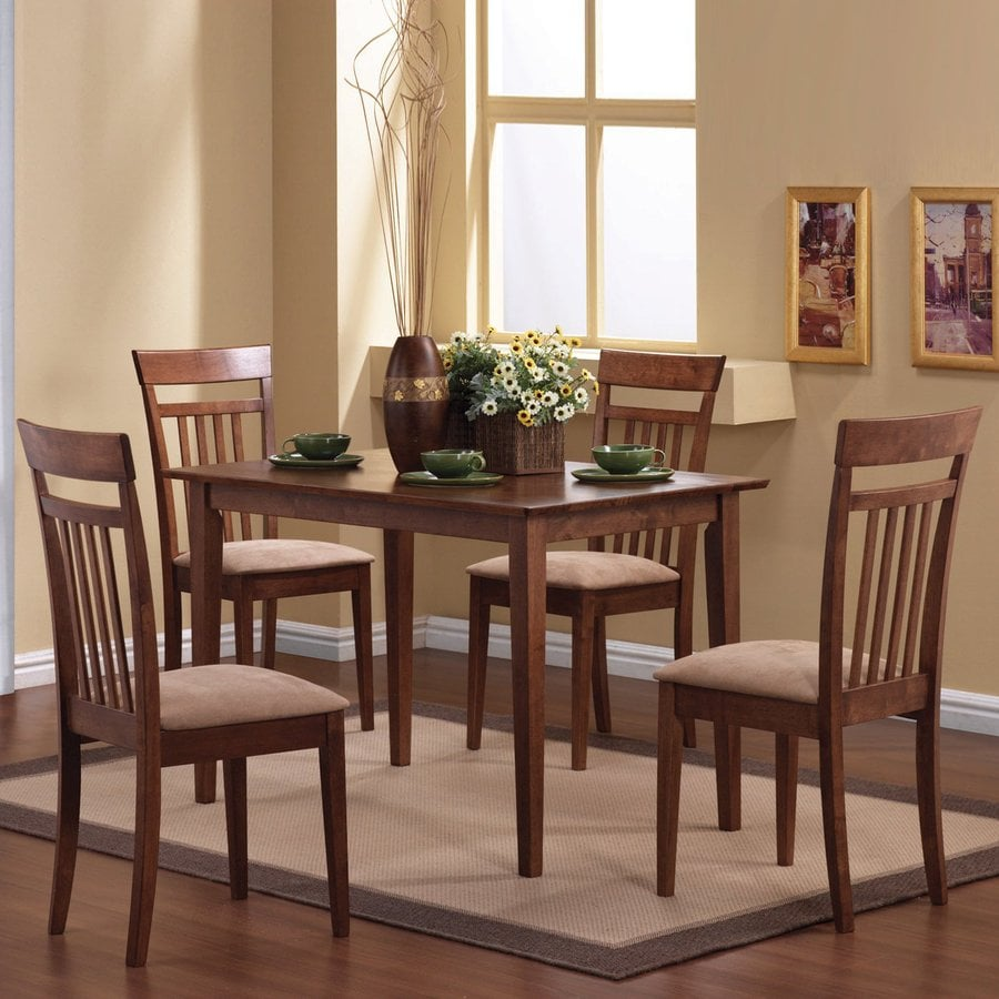 kitchen dining furniture coaster fine furniture walnut 5 piece dining set with dining table at lowes com 2701