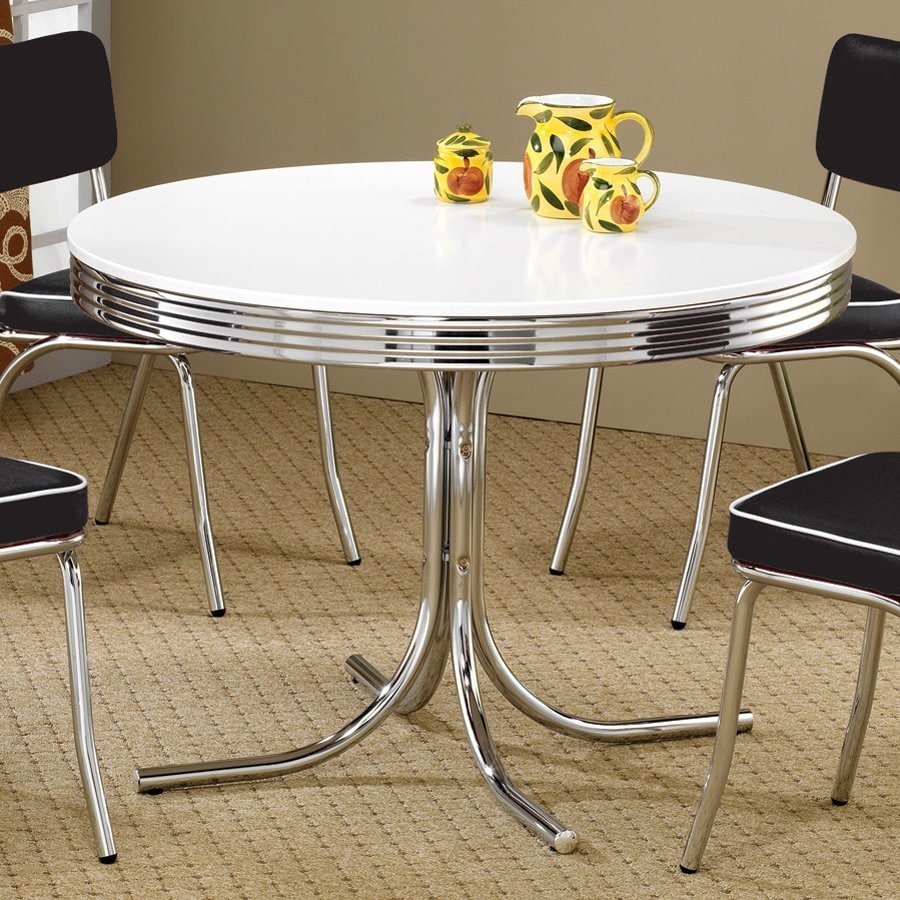 Black And White Retro Dining Table And Chairs Set: Shop Coaster Fine Furniture Retro White Round Dining Table