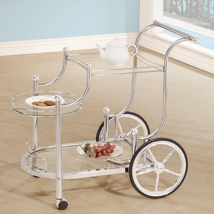 Coaster Fine Furniture Chrome Oval Kitchen Serving Cart