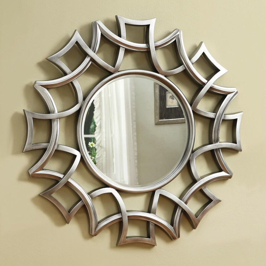Coaster Fine Furniture 40-in x 40-in Chrome Beveled Round Framed Wall Mirror